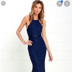 Lulus Zenith Navy Blue Lace Maxi Dress, Size S